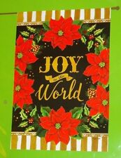 "Joy To The World decorative art garden flag New Christmas Poinsettias 28"" x 40"""