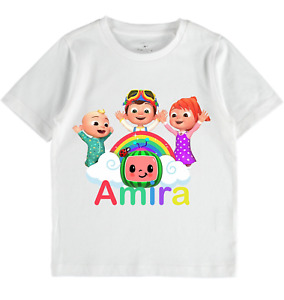 Cocomelon Personalised Name tshirt Boys Girls Toddlers clothe birthday boys gift