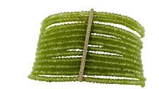 14K Yellow Gold Natural Green Peridot Beads with G-H Color Diamonds Bar Bracelet