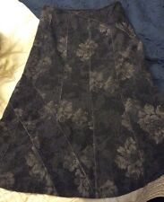 Marks & Spencer Per Una Skirt Wool Mix Grey Silver FLORAL Wool Mix Nearly New12S