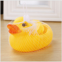 Pack of 4 Rubber Ducks With Net Baby Bath Time Toy Float Squeeze Sound