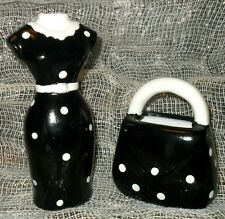 Collectible Miniatures MANNEQUIN DRESS PURSE SET Black White Polka Dots Bed Bath