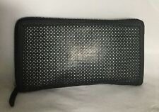 Large Charcoal Black GENUINE LEATHER Travel Wallet/Clutch Bag / Handbag