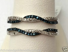 White Gold Wave Design Solitaire Enhancer Blue Diamonds Ring Guard Wrap Jacket