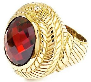 BIG & BOLD RED RUBY DOME GOLD BRASS BRONZE RING VINTAGE JEWELRY NEW