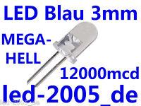 50 x LED Blau 3mm 12000mcd, LED 3mm BLAU,Blaue LEDs 3mm ULTRAHELL,