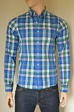 NEW Abercrombie & Fitch Henderson Lake Classic Shirt Blue & Green Plaid Check S