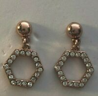 Origami Owl Rose Gold with Swarovski Crystals Drop Post Earrings