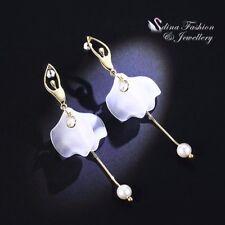 18K Yellow Gold Plated Resin Pearl Elegant Ballerina Girl Earrings Jewellery