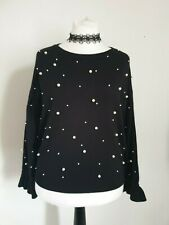 Klass size XL pearl embellished black long sleeve jumper fine knit fluted cuffs
