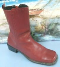 Pazzo  Womens Burgundy Leather Ankle side zipper Boots size 8