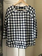 Marks & spencer collection ladies Top Blue white Check 3/4 sleeve UK 12 RRP £15