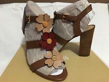 Michael Kors Kit Sandal Flower Embellished Size 8.5M Luggage/Toffee