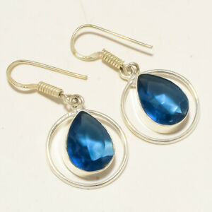 """Iolite Faceted Handmade Fashion Jewelry Earring S-1.80"""" MXE-908"""