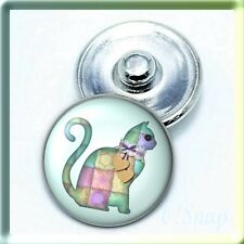 (Buy ANY 4, 2 w/be FREE) ANIMAL QUILTED CAT KITTEN Ginger Snap Button Charm