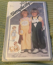 Simplicity Toddlers' Overalls,Toy Lion,Frog Pattern 5305 Size 3 Uncut