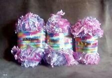 Wendy Shimmer Fancy Eyelash Ribbon Yarn Pinks (2055). 3 balls, 50g each