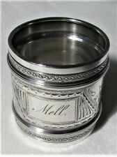 "Huge Antique Gorham Sterling Silver Napkin Ring 2"" Bright Cut 44 Grams Ex-Cond."