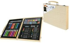 Childrens 67 PC Craft Art Artists Set Wooden Box Case Crayons Paints Pens Pencil