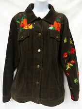 QUACKER FACTORY Womens Brown Fall Pumpkin Leaves Corduroy Jacket Coat L