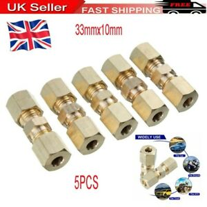 """5Pcs Brass Brake Pipe Connector Tube Tubing Joiner Line Union 33mmx10mm 3/16"""""""