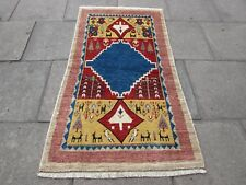 Traditional Tribal Hand Made Persian Gabbeh Oriental Gold Blue Wool Rug 175x96cm