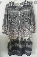 Anthropologie Fig & Flower Boho Floral Black White Grey Tunic Top Blouse Dress M