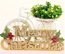 Christmas Tree 3D Golden Merry Christmas Signs Plaque Fancy Hanging Decorations