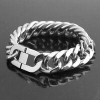 22mm Men's Chain Curb Cuban Link Silver Gold 316L Stainless Steel Bracelet HEAVY
