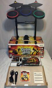 NINTENDO WII Guitar Hero World Tour Complete Band Game Bundle CIB Video Game Wii