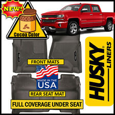 Husky X-Act Contour 2014-2017 Silverado Crew Cab FULL COVERAGE Floor Mats COCOA