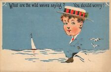 Comic Fade Away~What Are the Wild Waves Saying? You Should Worry~Man on Beach