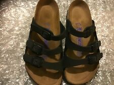 BIRKENSTOCK FLORIDA JET BLACK LEATHER SOFT FOOT US 5M (NORMAL) EU 36(5500)