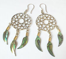 Dream Catcher Abalone Shell Earrings on .925 Sterling Silver Hook Boho Jewelry