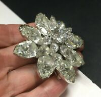 Vintage Large Layered Crystal Rhinestone FLOWER Brooch Rhodium Silver Mint zz74r