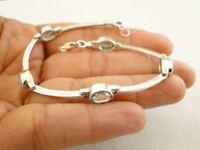 Blue Topaz Gemstone 925 Sterling Silver Bracelet
