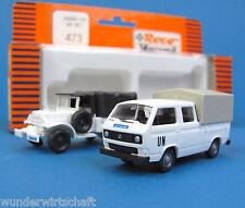Roco Minitanks H0 473 Set VW T3 DoKa Pritsche Plane + DODGE UN weiß UNO HO 1:87