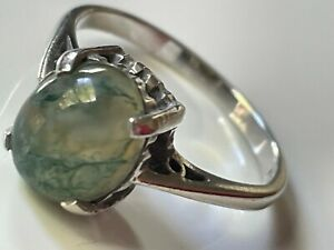 Vintage 1973 sterling silver '925' & moss agate ring band size M 1/2 hallmarked