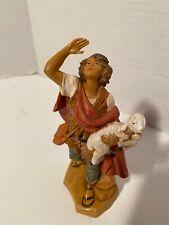 """Roman Fontanini Nativity Figurine Micah the Shepherd Carrying a Sheep 5"""" (72558)"""