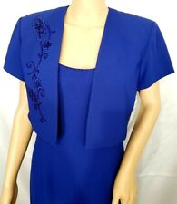 Set J.R. Nites Caliendo Petite Blue Floral Beaded Jacket Dress 8 Mother Bride