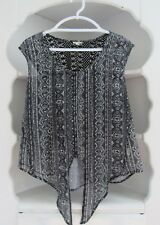 Womens L Black Sleeveless Tie Shirt Tan Lace Button Front Top Semi Sheer Shirt