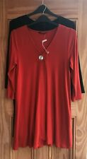Ex Evans NEW Black Rust Red Button Front Tunic Top Work Business Plus Size 14-28