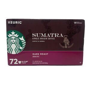 STARBUCKS Sumatra Coffee K-Cups Dark Roast 72 ct Best By 8/2020