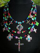 Southwestern Native American Sterling Turquoise Multi Stone Cross Charm Necklace