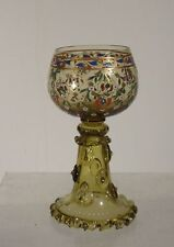 Antique Czech Bohemian Art Glass Cup Chalice Goblet Enameled Yellow Venetian