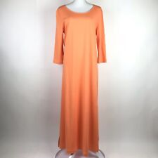 Joan Vass Easy Dress Women's Size 2 Orange Melon Maxi 3/4 Sleeve Cotton