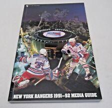 1991-92 New York Rangers Hockey Media Guide Clean