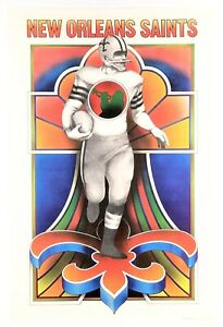 """NEW ORLEANS SAINTS"" (1969) *NFL FOOTBALL POSTER* Psychedelic Hippie Era - *MINT"
