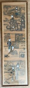 Large framed Chinese traditional three scenes original painting gouache