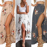Women Summer High Waist Maxi Skirts Pleated Beachwear Chiffon Long Casual Dress